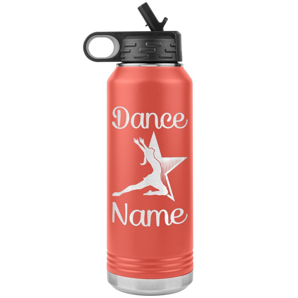Dance Tumbler Water Bottle, Personalized Dance Gifts coral