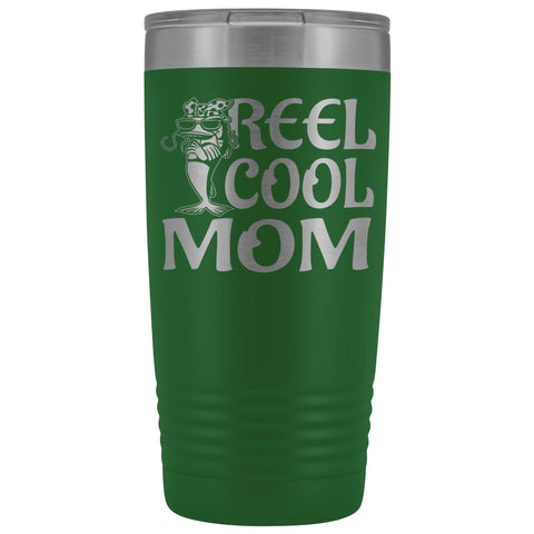 Image of Reel Cool Mom Fishing 20oz Tumbler Fishing Mom Gifts green