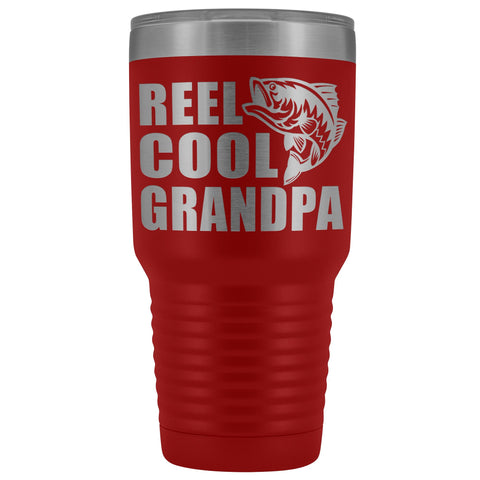 Image of Reel Cool Grandpa 30oz. Tumblers Grandpa Fishing Travel Mug red