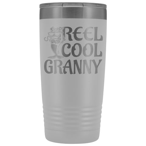 Reel Cool Granny Fishing 20oz Tumbler white