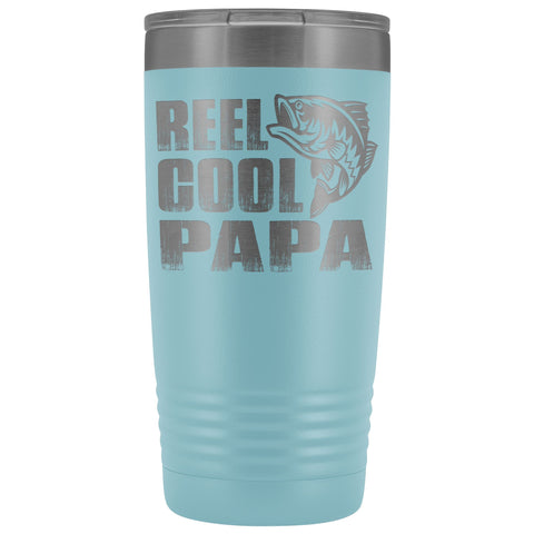 Image of Reel Cool Papa Fishing Papa 20oz Tumbler design 2 light blue