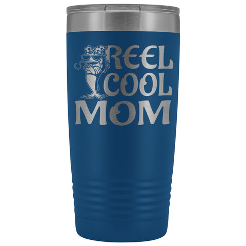 Image of Reel Cool Mom Fishing 20oz Tumbler Fishing Mom Gifts blue