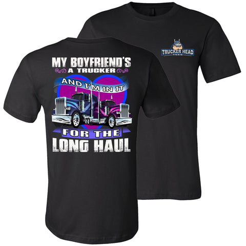 Image of My Boyfriend's A Trucker Truckers Girlfriend T-Shirts | Trucker Head black