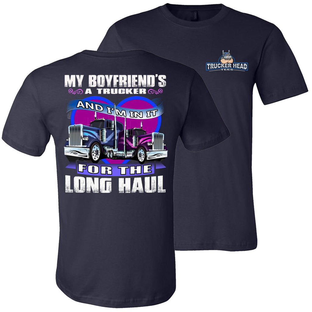 My Boyfriend's A Trucker Truckers Girlfriend T-Shirts | Trucker Head navy
