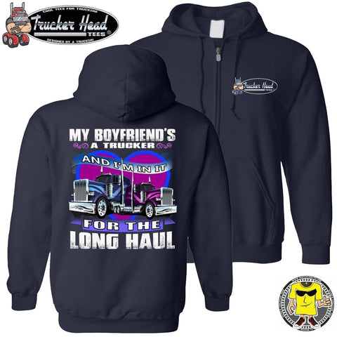 My Boyfriend's A Trucker And I'm In It For The Longhaul Truckers Girlfriend Hoodie zip up navy