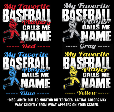 Image of My Favorite Baseball Player Design Color Samples 1