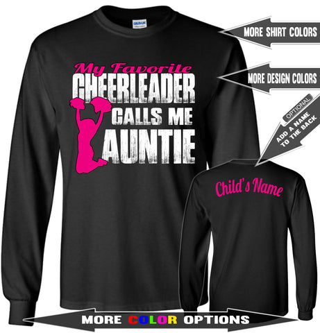 Image of My Favorite Cheerleader Calls Me Auntie Cheer Aunt Long Sleeve T Shirts