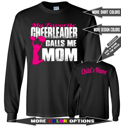 Image of My Favorite Cheerleader Calls Me Mom Cheerleading Mom Long Sleeve Shirts