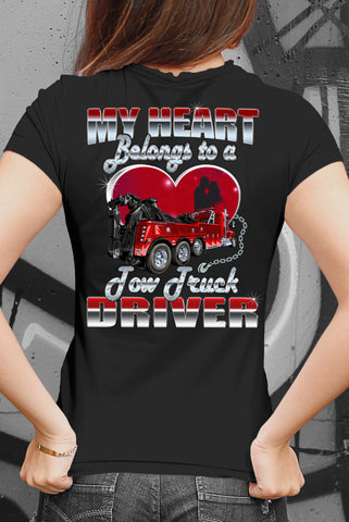 Image of My Heart Belongs To A Tow Truck Driver Tow Truck Wife Shirts