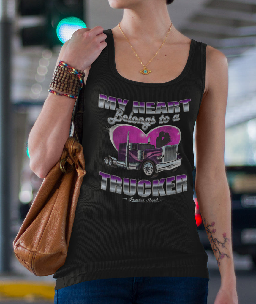 My Heart Belongs To A Trucker Wife Tank Top jersey