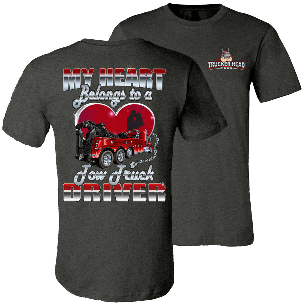 My Heart Belongs To A Tow Truck Driver Tow Truck Wife Shirts unisex  dk gray