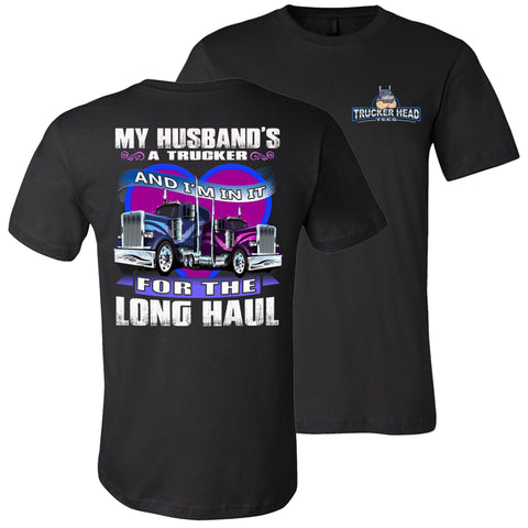 Image of In It For The Long haul Truckers Wife T Shirt | Trucker Head Tees black