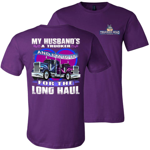 Image of In It For The Long haul Truckers Wife T Shirt | Trucker Head Tees team purple