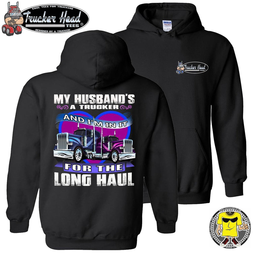 My Husband's A Trucker Wife Hoodie pullover black