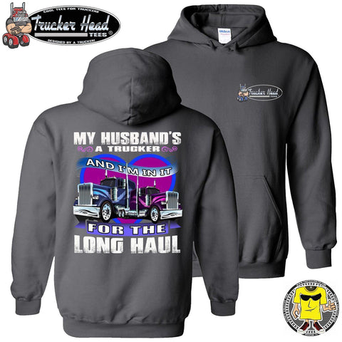 My Husband's A Trucker Wife Hoodie pullover charcoal