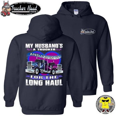 My Husband's A Trucker Wife Hoodie pullover navy