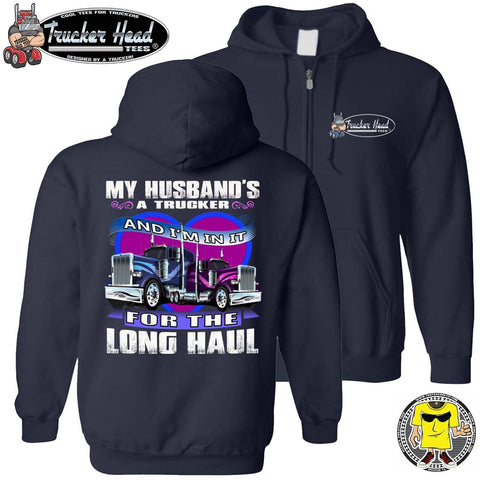 My Husband's A Trucker Wife Hoodie zip up navy
