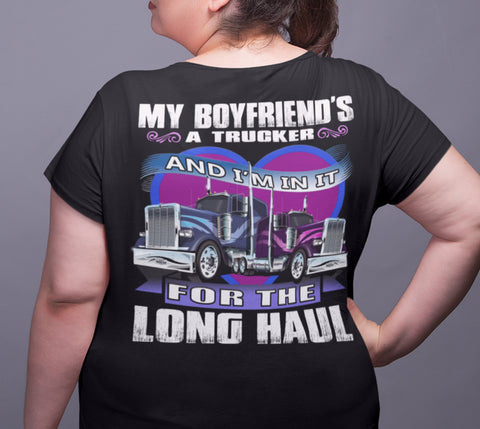 Image of My Boyfriend's A Trucker Truckers Girlfriend T-Shirts | Trucker Head