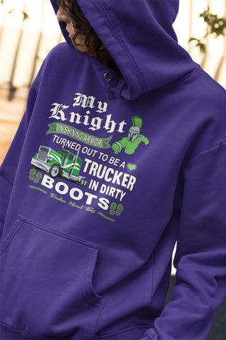 Image of My Knight And Shining Armor Trucker's Wife Or Girlfriend Hoodie