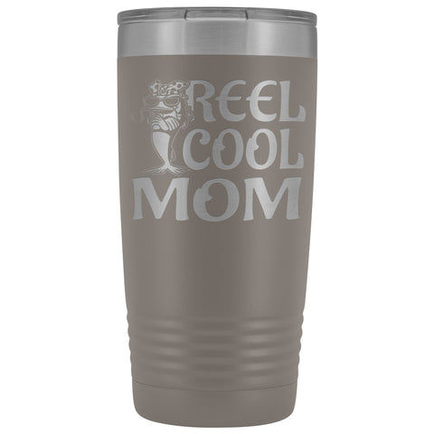 Image of Reel Cool Mom Fishing 20oz Tumbler Fishing Mom Gifts pewter