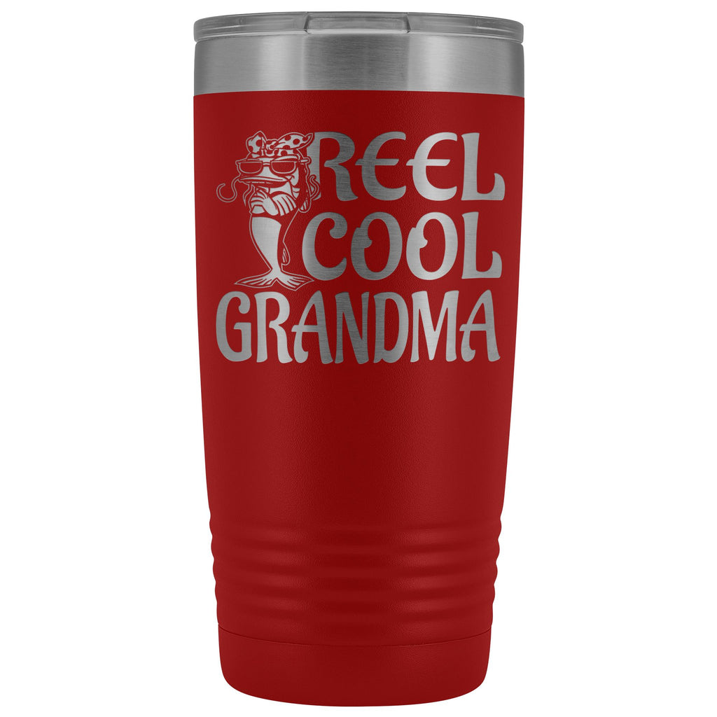 Reel Cool Grandma Fishing 20oz Tumbler red