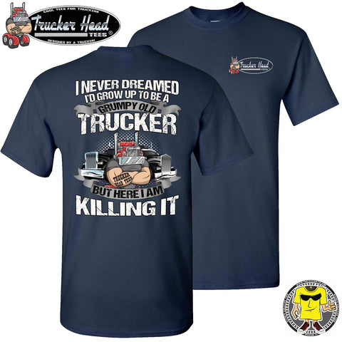 Image of Grumpy Old Trucker Funny Truck T Shirts navy crew