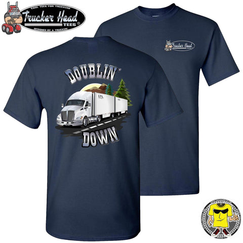 Image of Doublin' Down LTL Truck Driver T-Shirt navy
