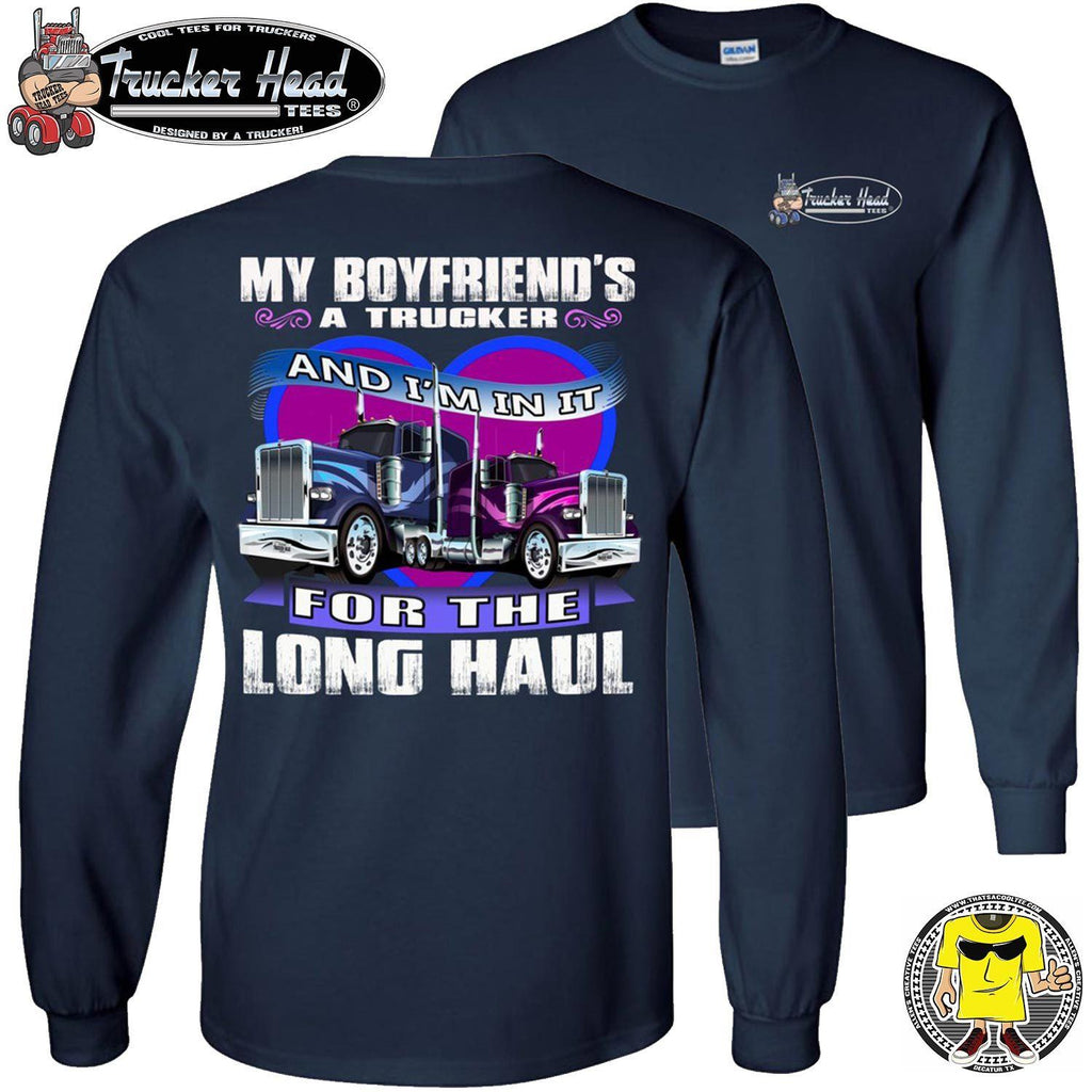 In It For The Long haul Trucker's Girlfriend Long Sleeve Tee navy