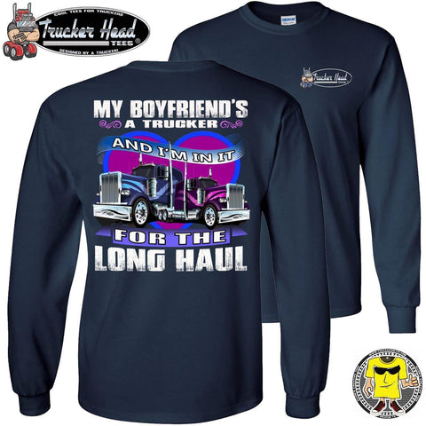 Image of In It For The Long haul Trucker's Girlfriend Long Sleeve Tee navy