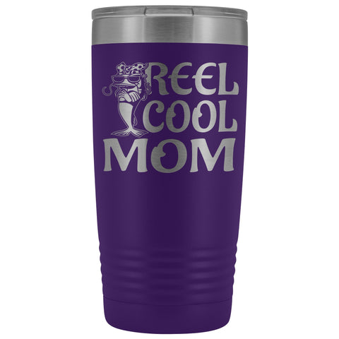 Image of Reel Cool Mom Fishing 20oz Tumbler Fishing Mom Gifts purple