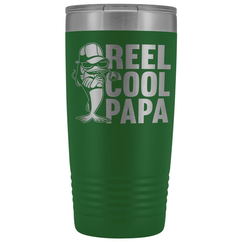 Reel Cool Papa Fishing Papa 20oz Tumbler green
