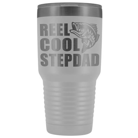 Image of Reel Cool Stepdad 30oz. Tumblers Step Dad Travel Mug white