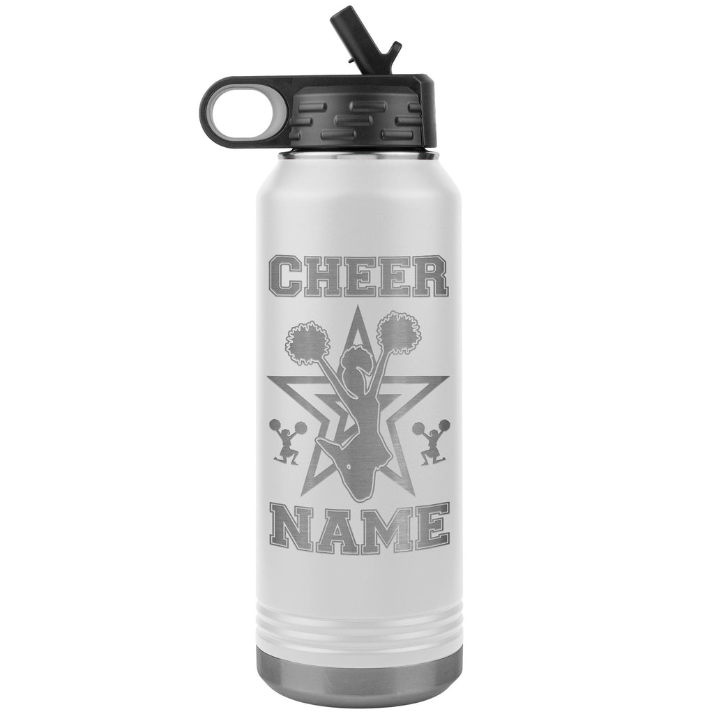 32oz Cheerleading Water Bottle Tumbler, Cheer Gifts white