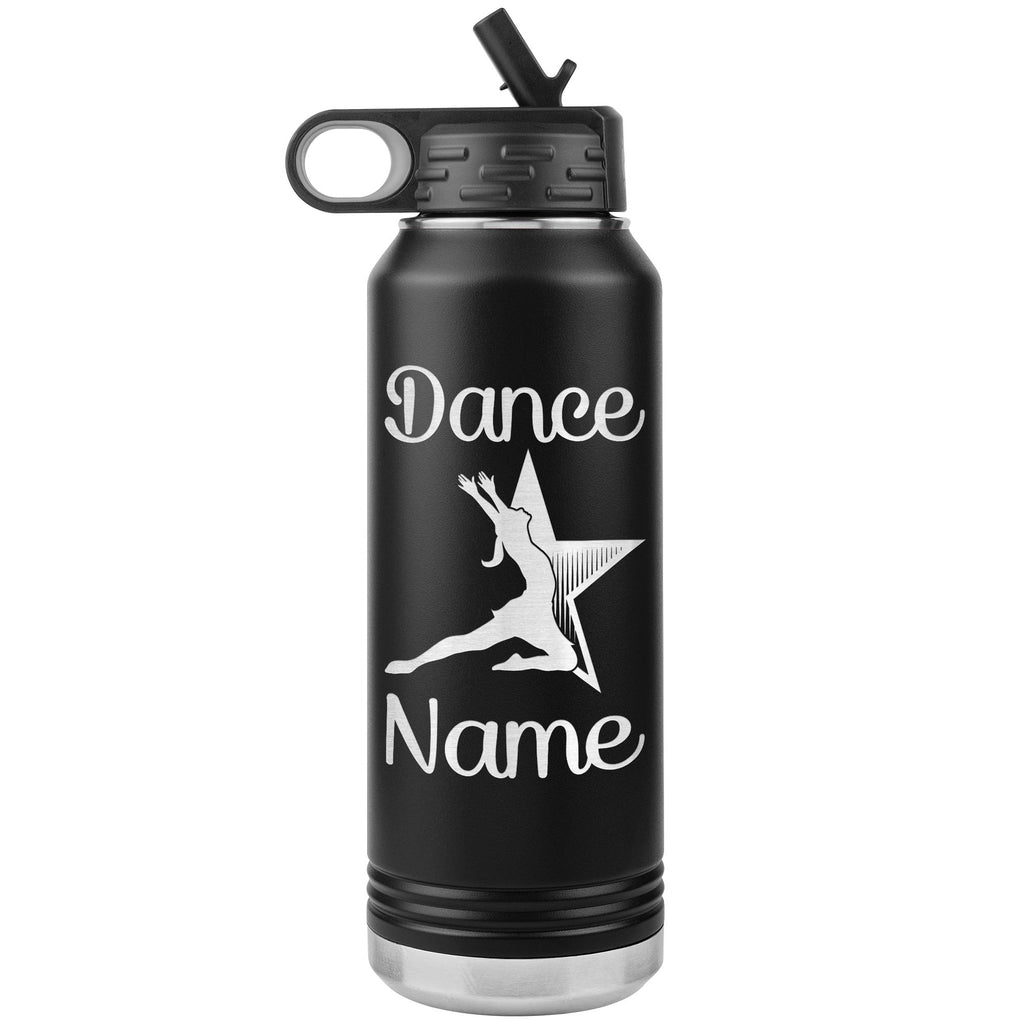 Dance Tumbler Water Bottle, Personalized Dance Gifts black