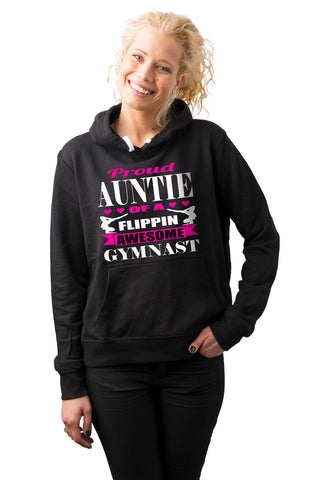 Image of Proud Auntie Of A Flippin Awesome Gymnast Aunt Hoodie mock up