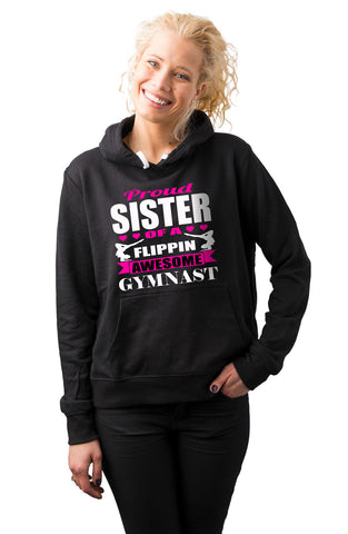 Image of Proud Sister Of A Flippin Awesome Gymnast Gymnastics Sister Hoodie mock up