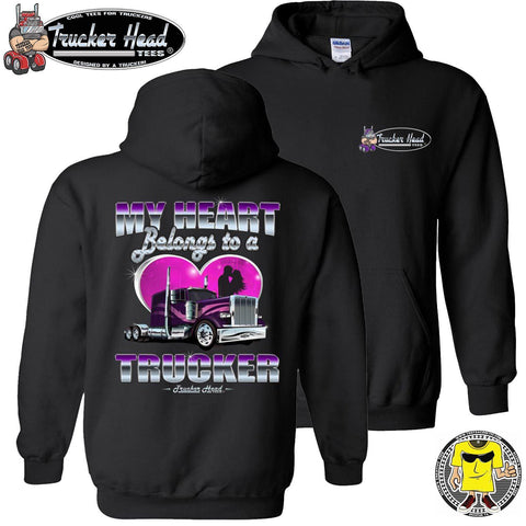 Image of My Heart Belongs To A Trucker Truckers Wife Hoodie pullover black