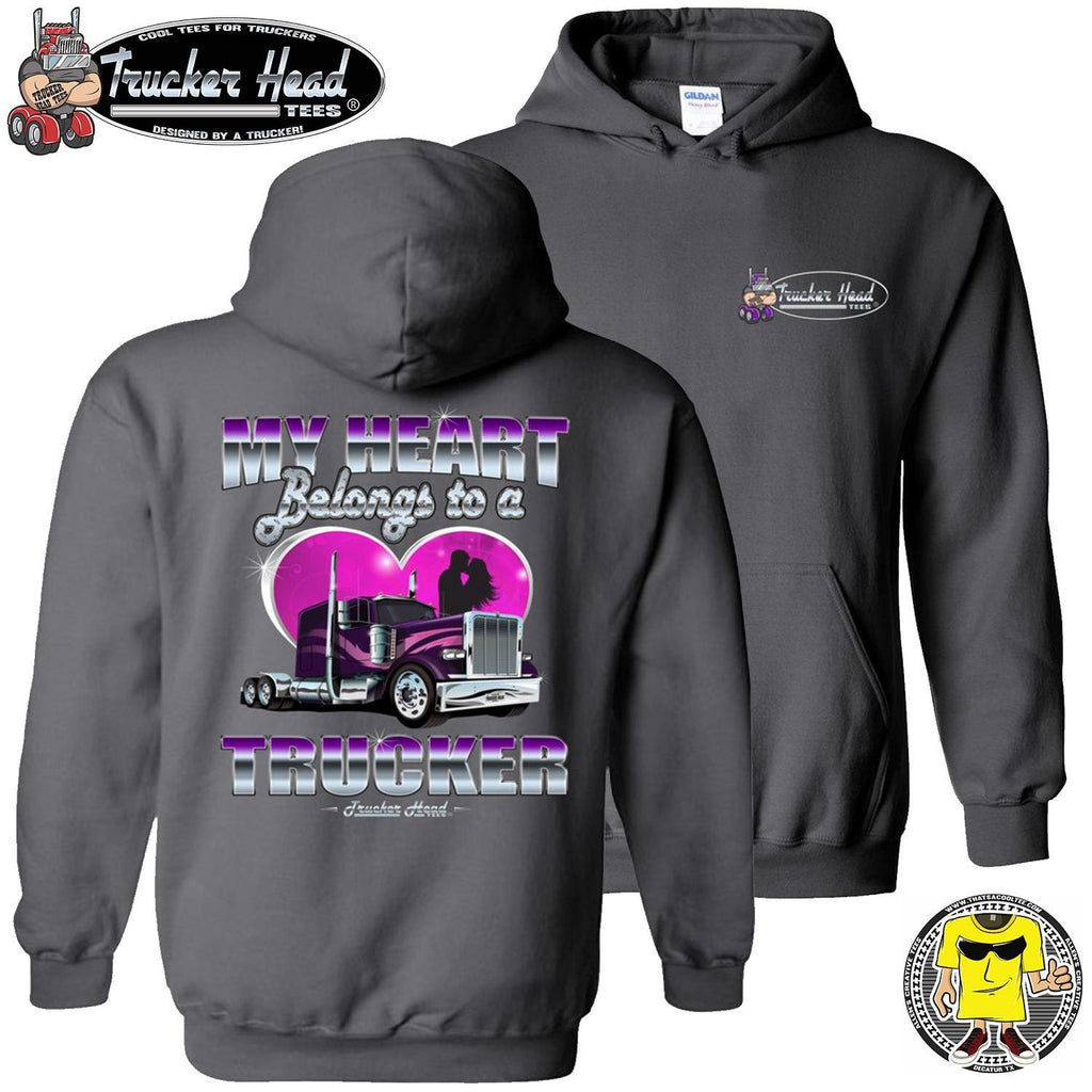 My Heart Belongs To A Trucker Truckers Wife Hoodie pullover charcoal