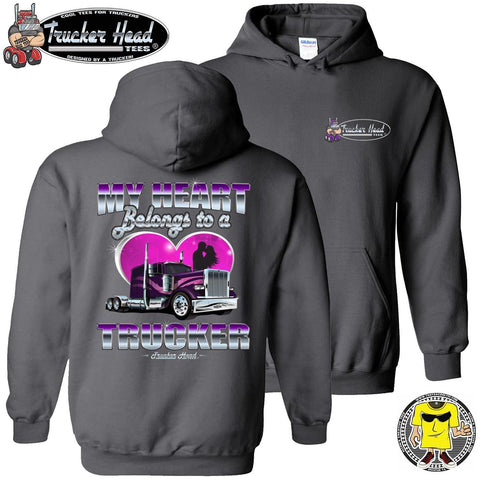Image of My Heart Belongs To A Trucker Truckers Wife Hoodie pullover charcoal