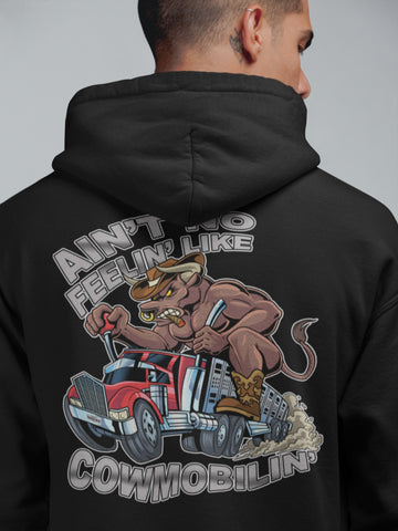 Image of Cowmobilin Bull Hauler Trucker Hoodie Sweatshirt mock up