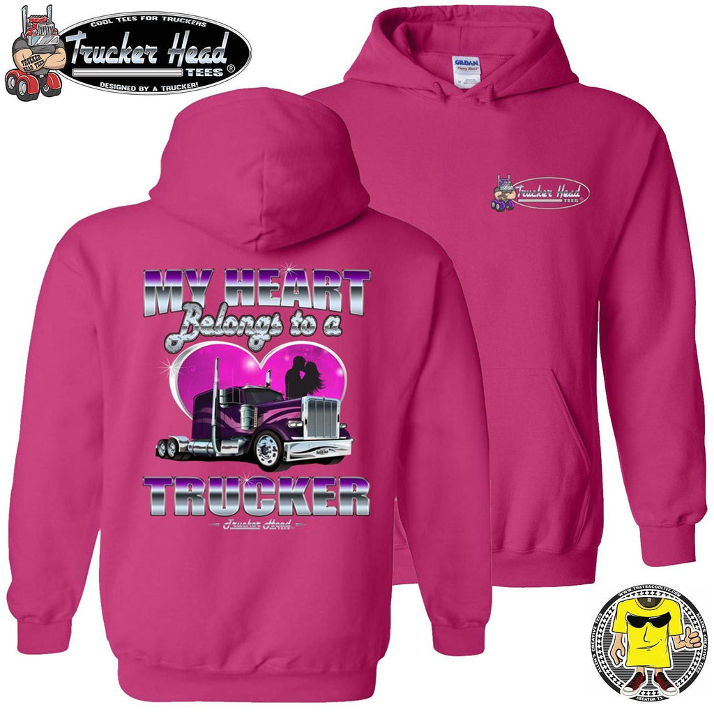 My Heart Belongs To A Trucker Truckers Wife Hoodie pullover pink