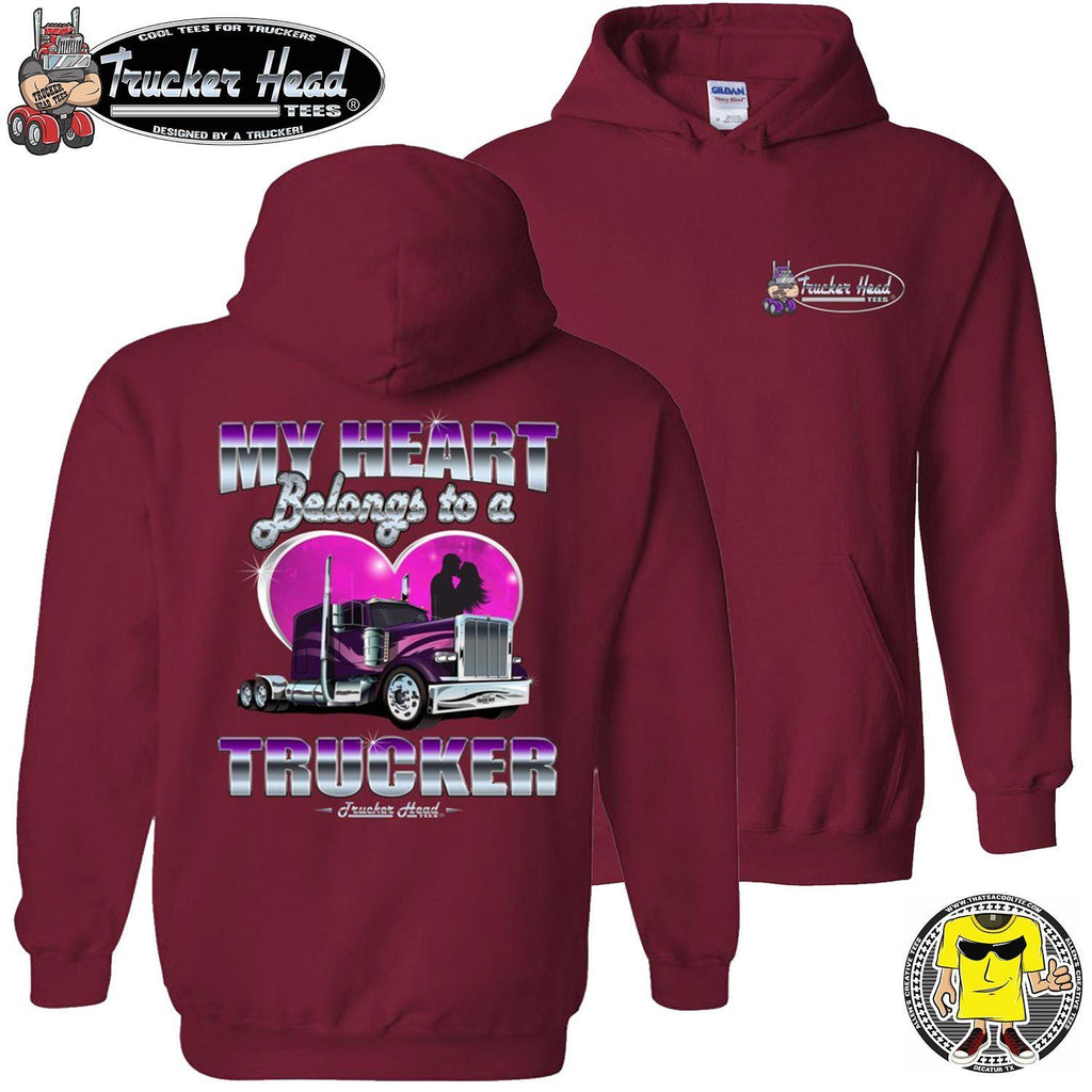 My Heart Belongs To A Trucker Truckers Wife Hoodie pullover red