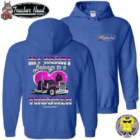 Image of My Heart Belongs To A Trucker Truckers Wife Hoodie pullover royal blue