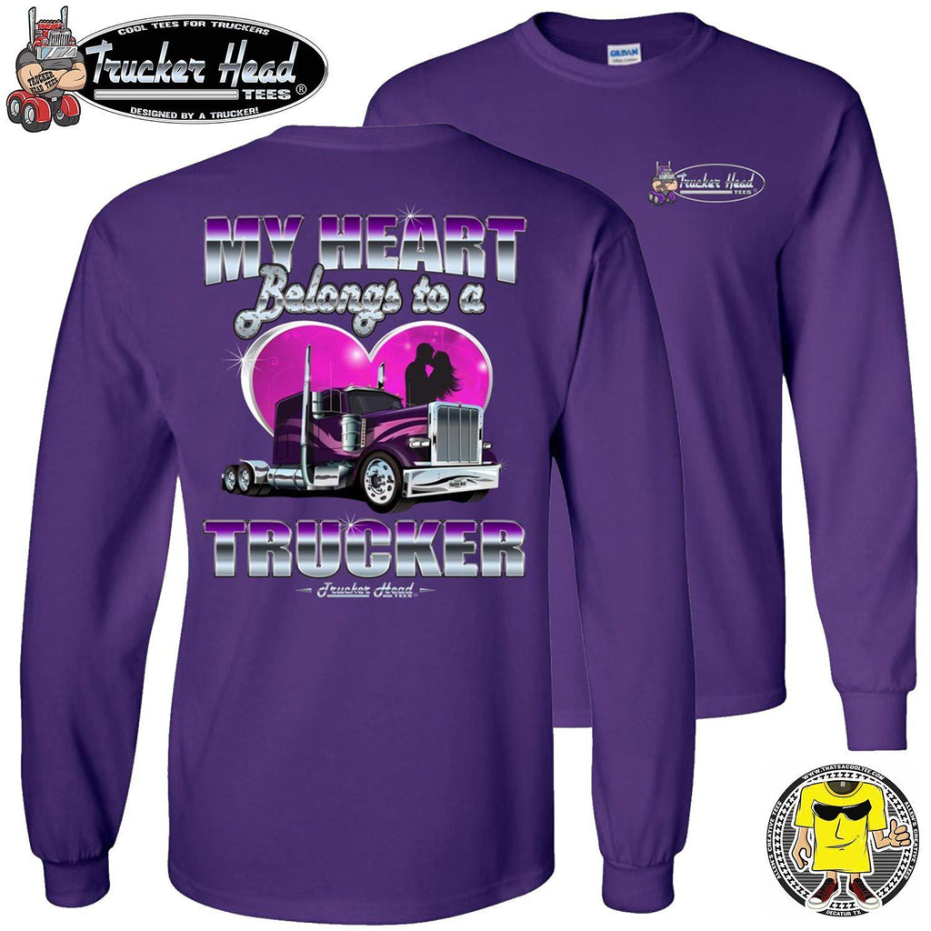 My Heart Belongs To A Trucker Wife Long Sleeve Shirt purple