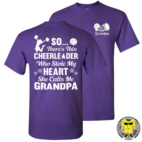 Image of So There's This Cheerleader Who Stole My Heart She Calls Me Grandpa Cheer Grandpa Shirts purple