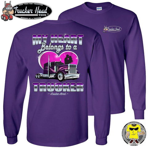 Image of My Heart Belongs To A Trucker Wife Long Sleeve Shirt purple