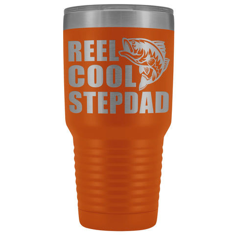 Image of Reel Cool Stepdad 30oz. Tumblers Step Dad Travel Mug orange