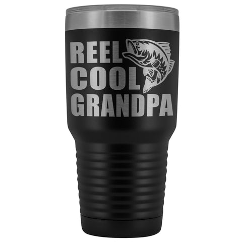 Image of Reel Cool Grandpa 30oz. Tumblers Grandpa Fishing Travel Mug black