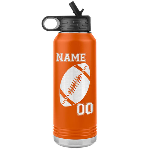 Image of 32oz. Water Bottle Tumblers Personalized Football Water Bottles orange