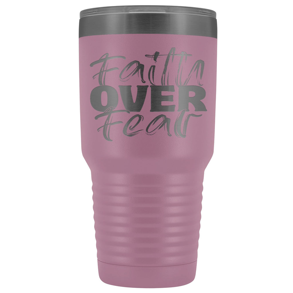 Faith Over Fear Christian Tumblers light purple